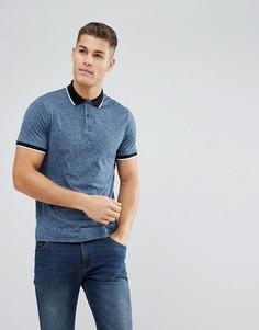 Синее меланжевое поло с короткими рукавами Burton Menswear - Синий