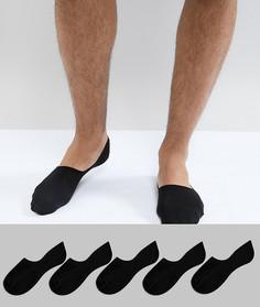 Набор из 5 пар черных носков-невидимок New Look - Черный