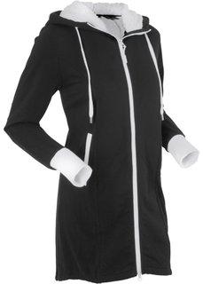 Трикотажная куртка с флисовой отделкой (черный) Bonprix
