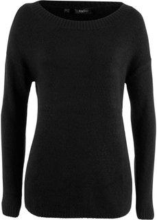 Пуловер с вырезом-лодочкой (черный) Bonprix