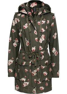 Куртка с капюшоном (темно-зеленый в цветочек) Bonprix