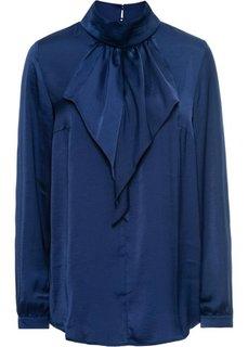 Сатиновая блузка с воланом (темно-синий) Bonprix