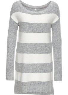 Пуловер вязаный (светло-серый меланж/кремовый) Bonprix
