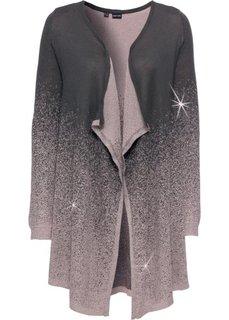 Кардиган с люрексом (серый/розовый с рисунком) Bonprix