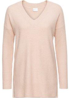 Пуловер с V-образным вырезом (розовый меланж) Bonprix