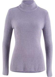 Пуловер в рубчик с высоким воротником (дымчато-фиолетовый) Bonprix