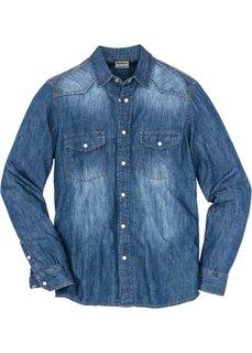 Джинсовая рубашка с длинными рукавами (синий «потертый») Bonprix