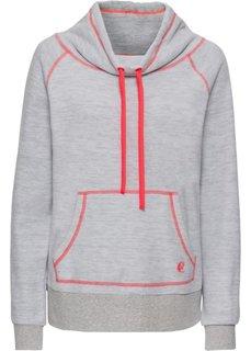 Пуловер из флиса (серый меланж/оранжевый неон) Bonprix