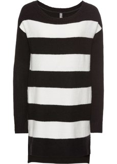 Пуловер вязаный (черный/кремовый) Bonprix