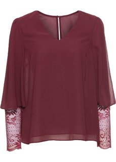 Блузка с кружевными рукавами (темно-бордовый) Bonprix