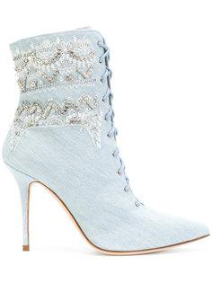 джинсовые сапоги на шнуровке Rihanna x Manolo Manolo Blahnik