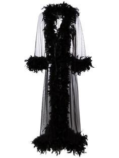 прозрачный халат с отделкой перьями  Folies By Renaud