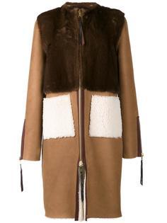 пальто с панелью из норки Oscar de la Renta