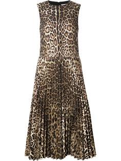 плиссированное платье с леопардовым рисунком Red Valentino
