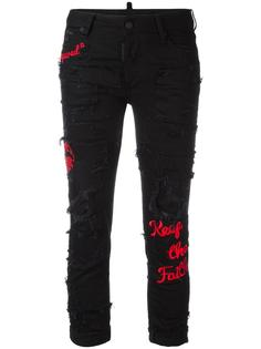 джинсы с вышивкой Glam Head Dsquared2