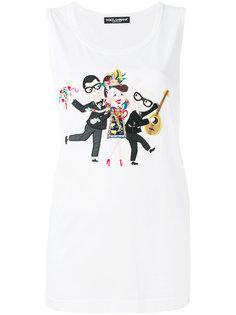 топ с принтом дизайнеров  Dolce & Gabbana