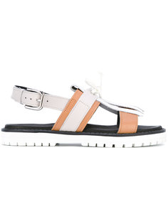 сандалии с ремешком на пятке и бахромой Pollini