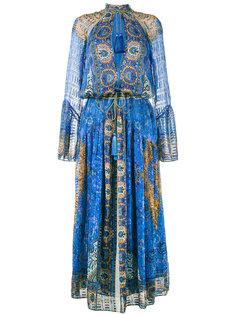 длинное свободное платье с глубоким вырезом Etro