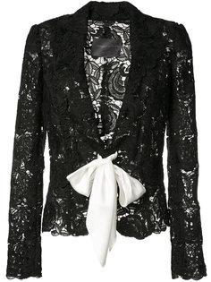 кружевной пиджак на завязке  Monique Lhuillier