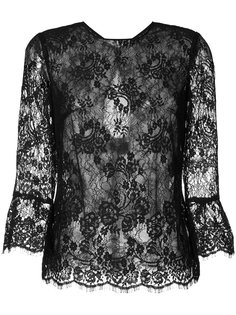 прозрачная кружевная блуза Monique Lhuillier