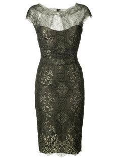 кружевное платье с эффектом металлик Monique Lhuillier