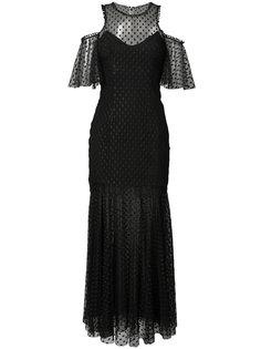 прозрачное платье с открытыми плечами Monique Lhuillier