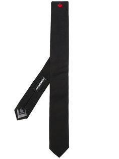 галстук с вышитым листом  Dsquared2