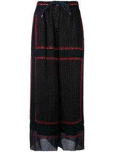 брюки-палаццо из купро с тонкими полосками Sacai