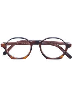 очки в округлой оправе в стиле ретро Marni Eyewear