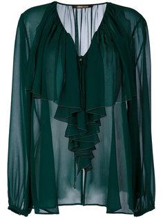 полупрозрачная блузка с оборками спереди Roberto Cavalli