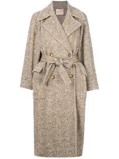 пальто свободного кроя с узором елочкой Erika Cavallini