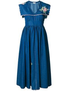приталенное платье с вышитыми цветами Natasha Zinko