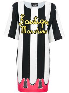 платье в полоску с принтом  Boutique Moschino