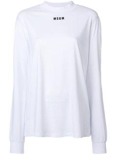 футболка с длинными рукавами и логотипом  MSGM