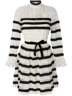 кружевное платье в полоску с высоким воротом  Philosophy Di Lorenzo Serafini