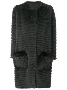 пальто с контрастными карманами  Liska
