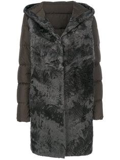 дутое пальто с мехом  Liska