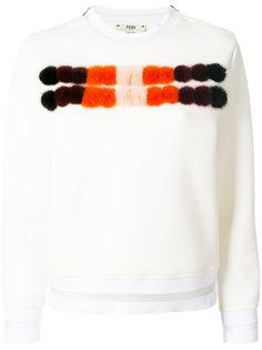 свитер с отделкой из норкового меха Fendi