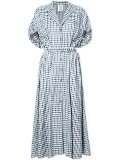 клетчатое платье с поясом на талии Rosie Assoulin