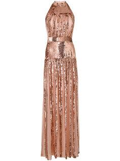 длинное платье с пайетками и вырезом-халтер Temperley London