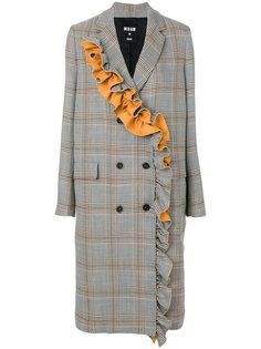 клетчатое пальто с рюшами MSGM