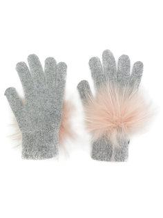 перчатки с помпонами Yves Salomon
