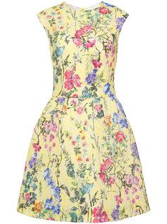 кружевное структурированное платье с цветочным узором Monique Lhuillier