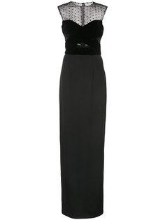 прозрачное длинное платье-колонна Monique Lhuillier