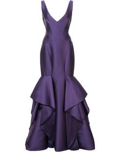 расклешенное длинное платье с V-образным вырезом Monique Lhuillier
