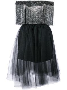 расклешенное платье с приспущенными плечами Monique Lhuillier