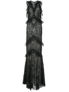 кружевное длинное платье с оборками  Monique Lhuillier