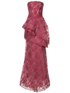 многослойное кружевное платье Monique Lhuillier