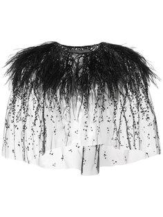 болеро с вышивкой и отделкой страусиными перьями  Monique Lhuillier