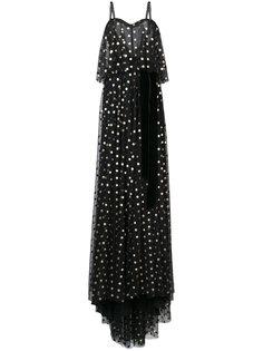 длинное платье с узором в горох Monique Lhuillier